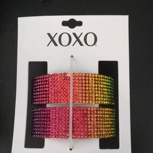 XOXO multi Color Pave Cuff Bracelet (matching ear)